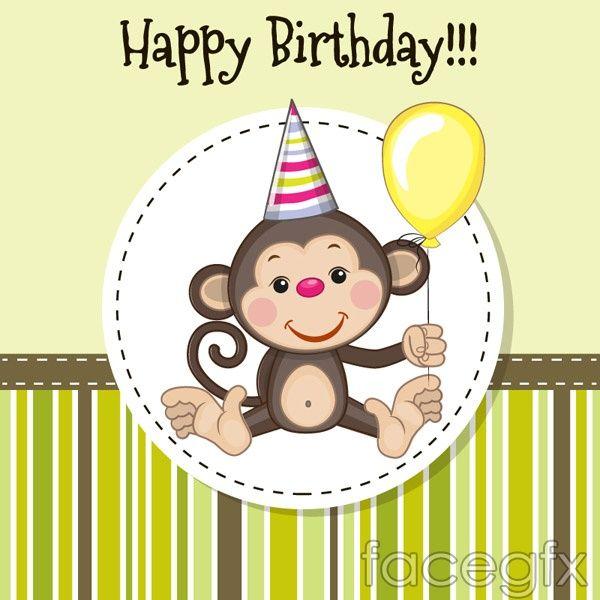 Cartoon Monkey Birthday Card Vector