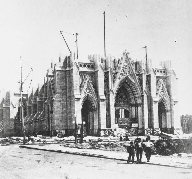 St Patrick's Cathedral under construction, 1868. Photo from the New York Times.
