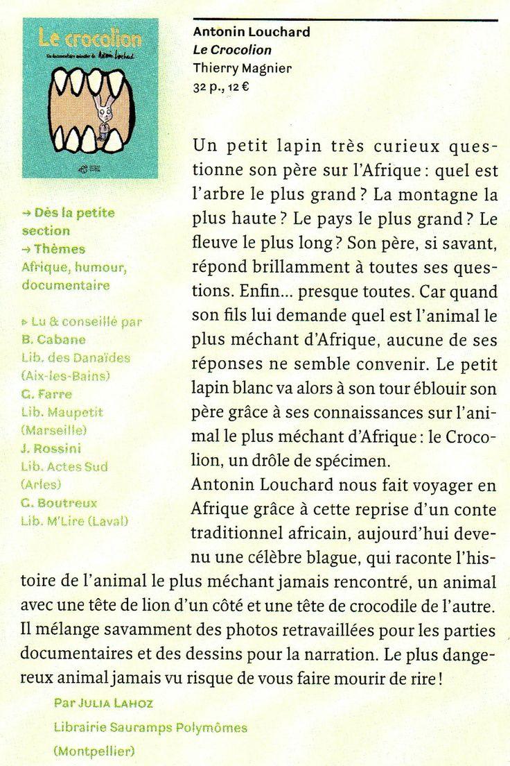 Article sur le Crocolion d'Antonin Louchard. Page 161