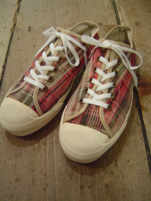1990's VANS CANVAS CHECK SNEAKER  MADE IN USA