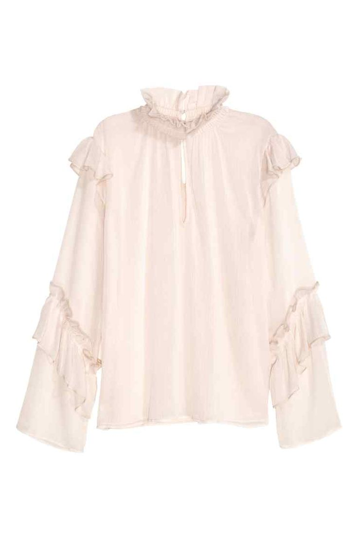 Crinkled flounced blouse: Blouse in a double-layered crinkled weave with a smocked stand-up collar with a frill, an opening front and back, covered buttons at the back of the neck and flounces on the shoulders and sleeves.
