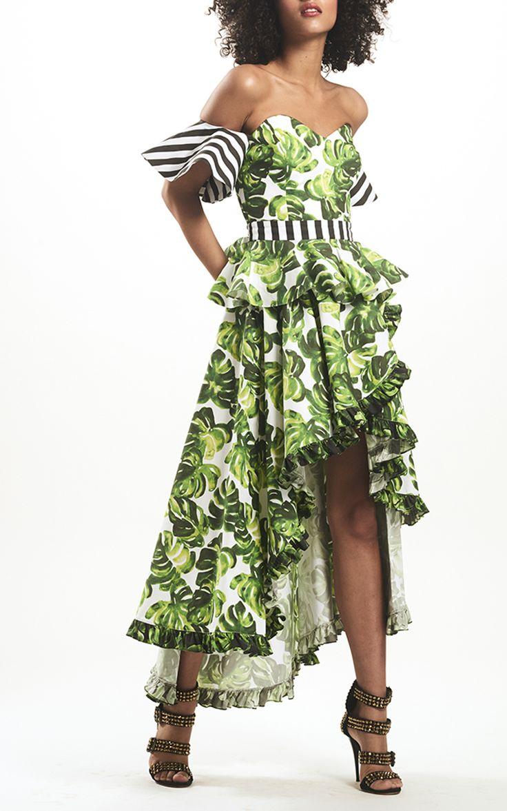 Irene Peplum Off The Shoulder Top, Adele Pleated Trim Skirt | Caroline Constas