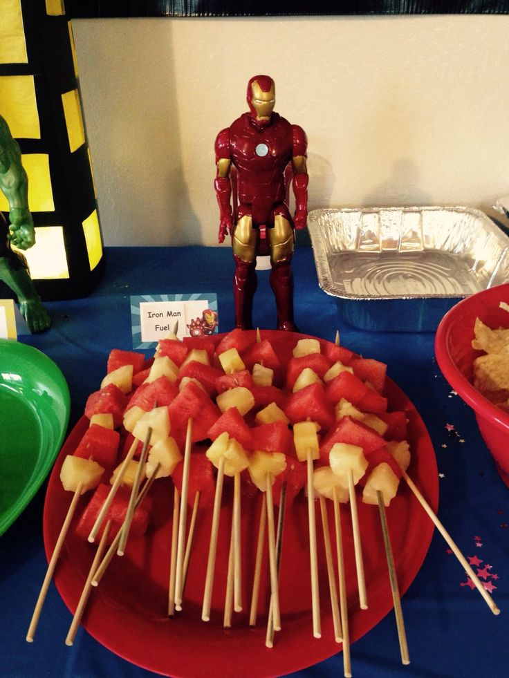 "Iron man ""fuel"" fruit platter watermelon & pineapple kabobs"