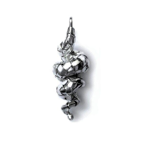 woven series spiral pendant in fine silver by gurgel-segrillo