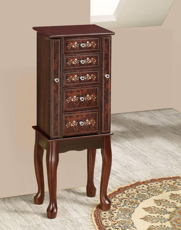 Furniture U0026 Design :: Bedroom Furniture :: Jewelry Armoires :: Cherry  Finish Wood Jewelry Armoire Chest With Painted Floral Decor Accents