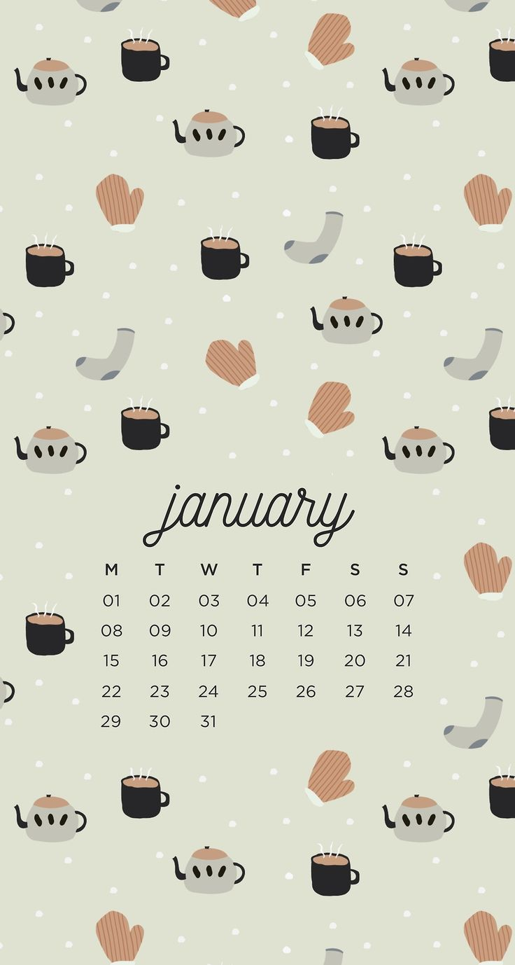 January winter phone calendar background wallpaper