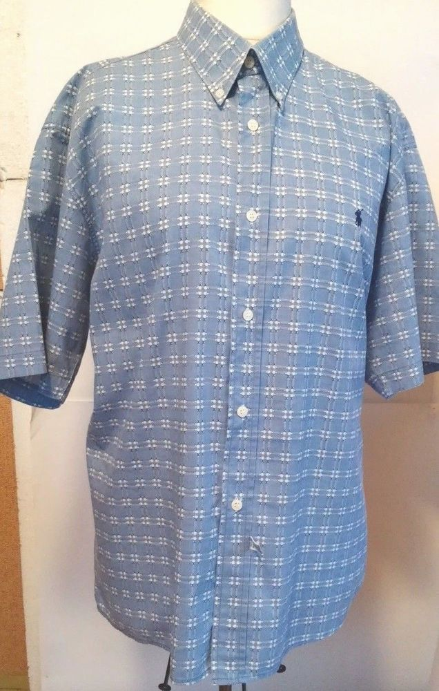 POLO RALPH LAUREN  MEN'S  BUTTON SHIRT LARGE BLUE WHITE  COTTON XL #POLORALPHLAUREN #ButtonFront