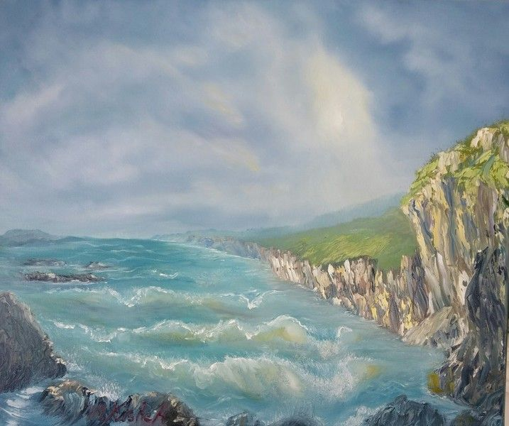 (c) Rocky Shore by Marwan Kishek. Oil on canvas 20