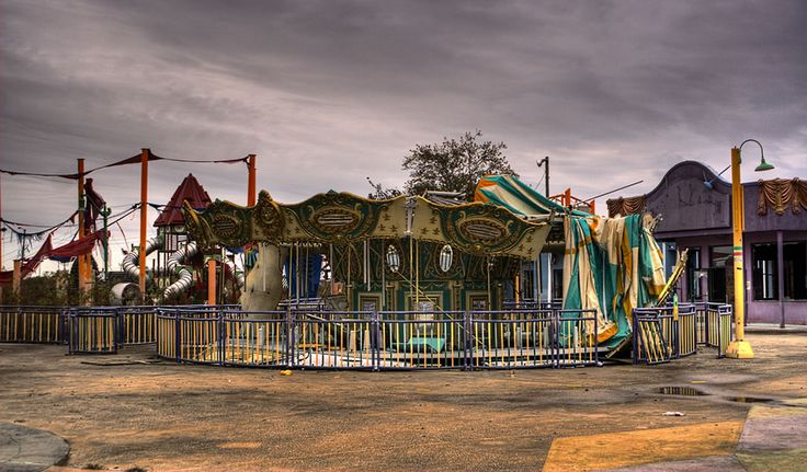 Six flags New Orleans was declared a total loss an abandoned after hurricane Katrina and now looks like a scene out of a horror film. I want to go explore here sooo bad!