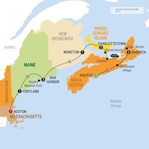 Map of Enchanting Maritimes - Summer 2015 June 13-24 and June 20-July 1