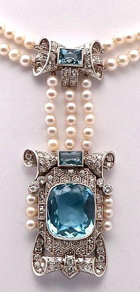 Antique Victorian pearl, aquamarine and diamond pendant necklace.