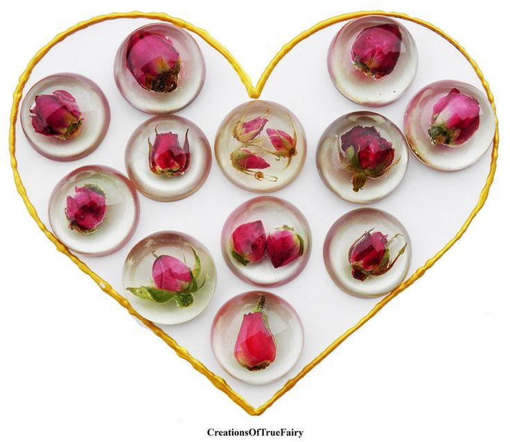 Rosebud cabochons Real rose resin cabochon by CreationsOfTrueFairy