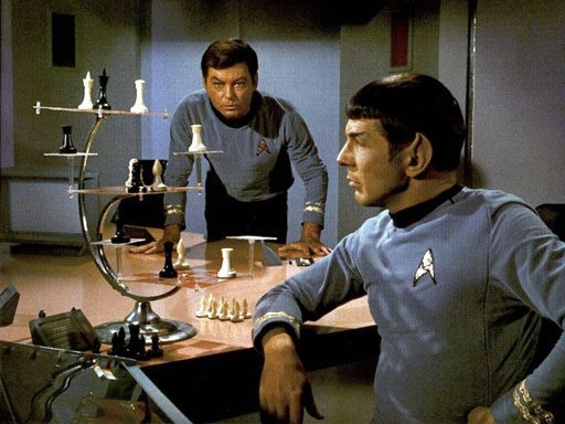 Court Martial~~ I love this scene: Spock realizes there's something wrong with the Enterprise's computers because he should never be able to beat the computer at chess because he programmed it himself.