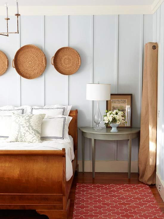 Wall Perks    Wrap a bedroom in quintessential cottage character with a painted paneled wood treatment. Instead of the expected beaded board, run a strip of 1-inch-thick molding from floor to ceiling between a room's crown molding and baseboard, leaving a foot between each piece of trim. Paint the walls and trim the same color to achieve an-always-been-there look.