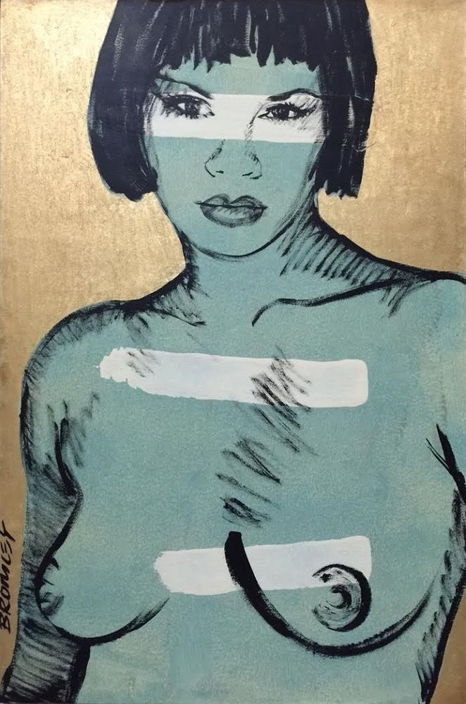 DAVID BROMLEY Nude  Winter  Polymer Painting 119cm x 79cm FRAMED