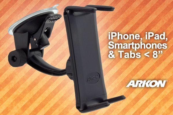 Arkon Slim-Grip® Ultra™, support fin et élégant pour pare brise de voiture!  Arkon's Slim-Grip® Ultra™ est un support élégant pour presque tous les appareils mobiles: iPhone, Galaxy SIII, Note II et même pour iPad Mini. Adapté aux fourres de protection même épaisses et lourdes.  Fourni avec le Travelmount ™, une ventouse qui peut être montée aussi bien sur le pare brise que sur tableau de bord  Prix: CHF 49.00 (TVA inclus) Frais de livraison: inclus Délai de livraison: 3 jours ouvrables