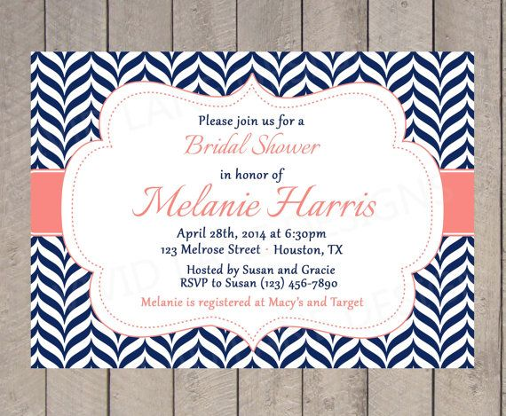 14 best invitations images on pinterest bachelorette party invites bridal shower invitation navy and coral by vividlanedesigns 1800 filmwisefo