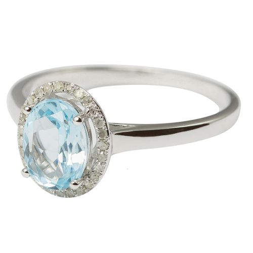 9ct White Gold Diamond  Natural Sky Blue Topaz Ring $165 - purejewels.com.au
