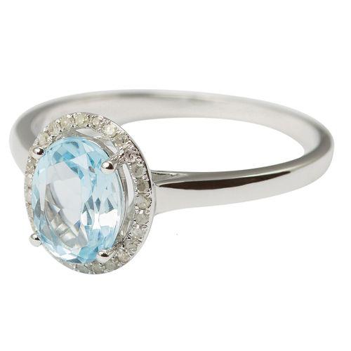 9ct White Gold Diamond  Natural Sky Blue Topaz Ring $165 - purejewels.com.au