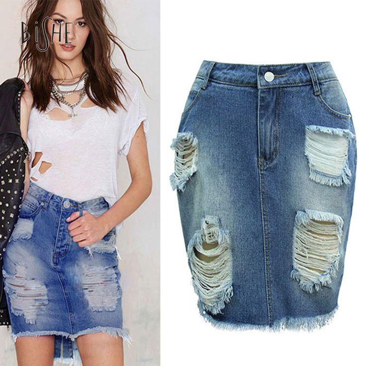 BiSHE Skirt Women 2017 New Casual Summer Saia Jeans Skirt Ladies Short Jean High Waist Hole Pencil Ripped Mini Denim Skirts