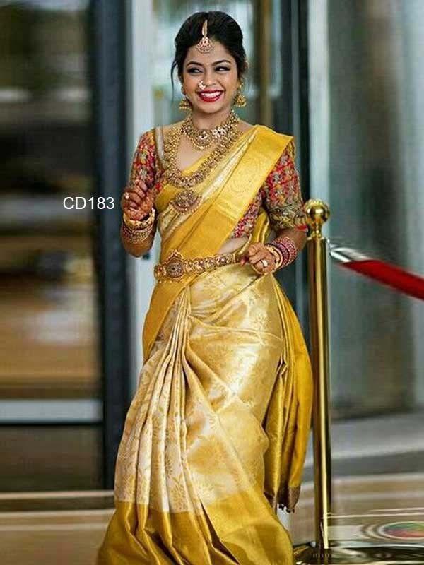 66a7d83a5b7d Beautiful Yellow Colored Soft Silk Saree - CD183 Bridal Chura, Bridal  Lehenga, Saree Wedding