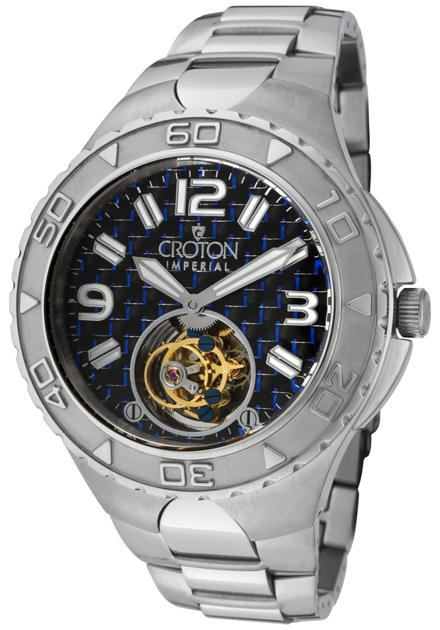 Price:$799.99 #watches Croton CN307423SSBL, With a royal appeal, this Mechanical Tourbillon Croton timepiece has a regal design and adds a refined look to your wardrobe.