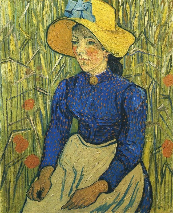 Vincent VAN GOGH: Young Peasant Woman with Straw Hat Sitting in the Wheat, 1890 Deep blue dress