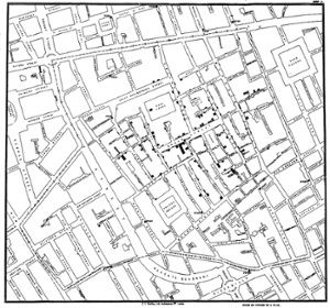 Important maps: Original map by John Snow showing the clusters of cholera cases in the London epidemic of 1854, drawn and lithographed by Charles Cheffins