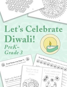 """Common-Core-Aligned Diwali lesson/unit for preK through 3rd grade. In this """"Diwali"""" packet students learn about how, where, and why it is celebrated, plus do math, ELA, and art lessons related to Diwali. Diwali is Oct 30 this year!"""