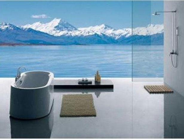 Mountains bathroom photo wallpaper wall mural mural for Bathroom wall mural ideas