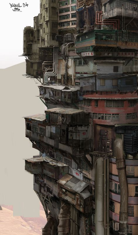 'Babel' by Nivanh Chanthara. Dirty, piled up and ever ascending, it implies the high tech and low life of cyberpunk.