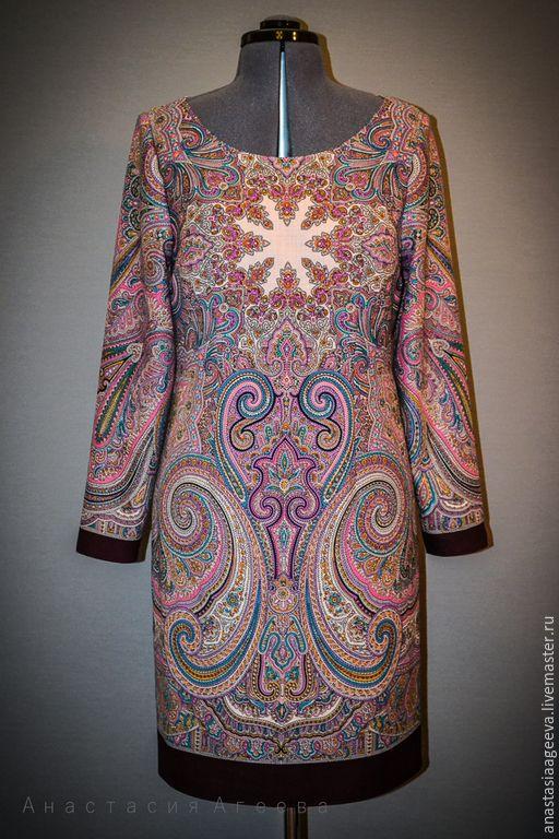 """Купить Платье из платка """"Драгоценная"""" . - разноцветный, орнамент, платье из платка, платье ручной работы"""