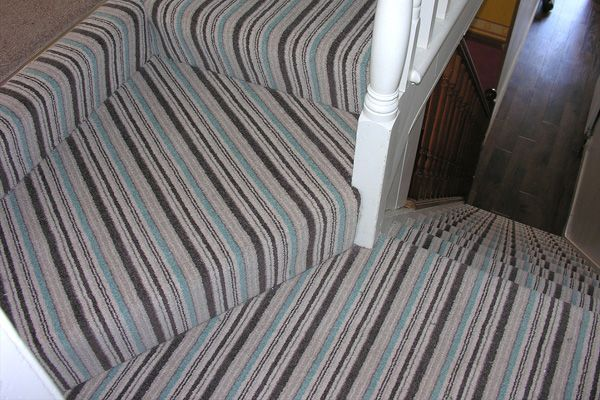 striped carpet on stairs plain on landing - Google Search ...