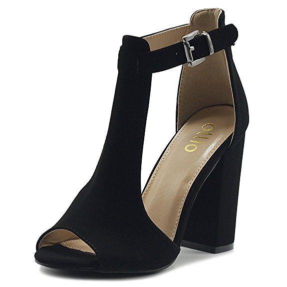 79b77c934c8 Ollio Women s Shoes T-Strap Chunky High Heel Bootie Sandals