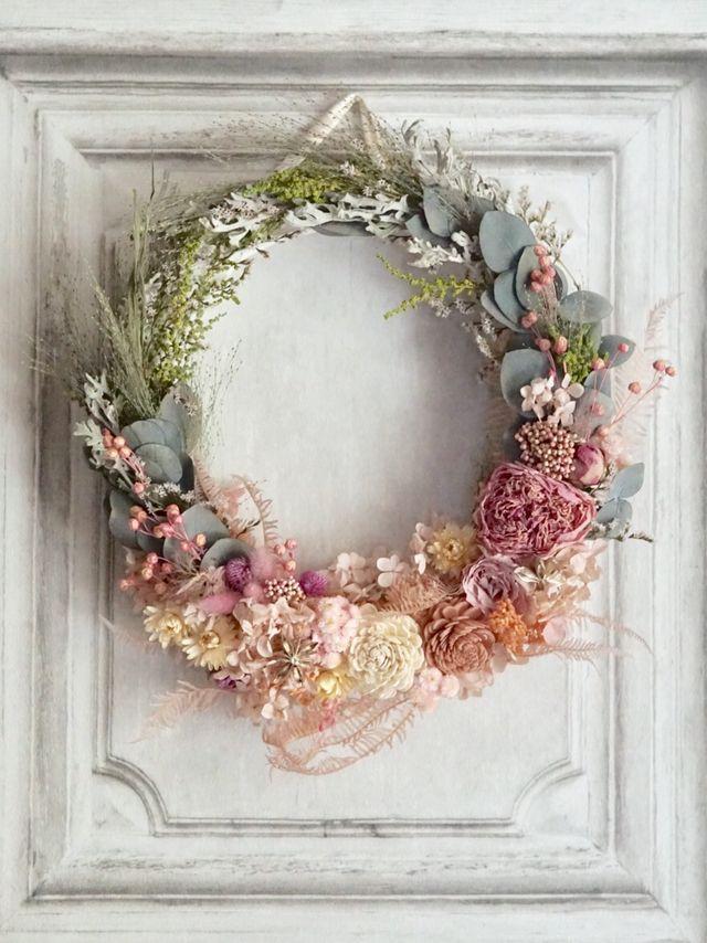 Wreath bouquet :アンティークピンクのリースブーケ&ブートニア   ハンドメイドマーケット minne