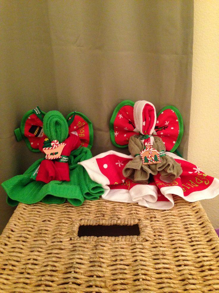 Dollar tree xmas dish towel angels xmas homemade gifts for Craft paper dollar tree