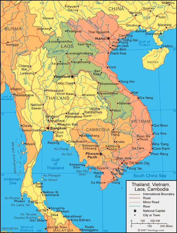 As you can see in green, that is Laos. And the major cities are pointed out. Including the capitol, Vientiane. PT.1