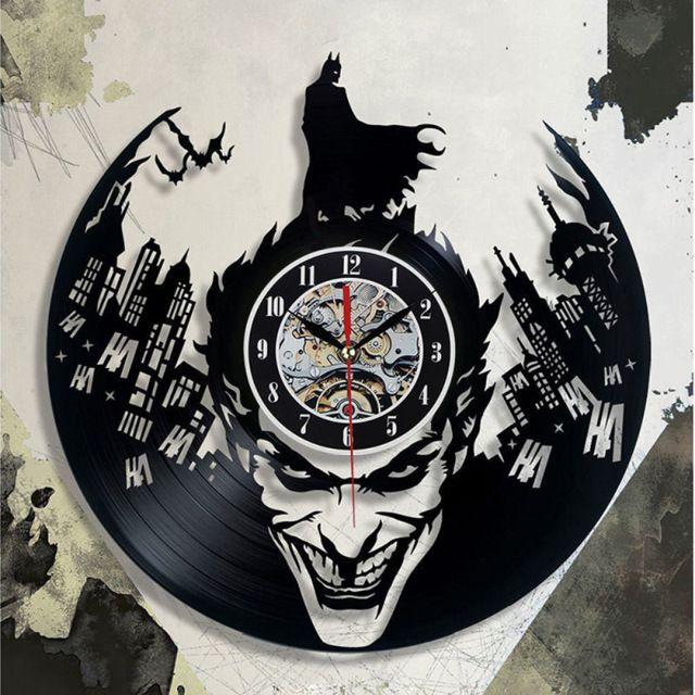 1 Piece Preto Velho Clássico Disco de Vinil Concept Relógio de Parede Batman Tema Antigo CD Retro Relógios De Vinil