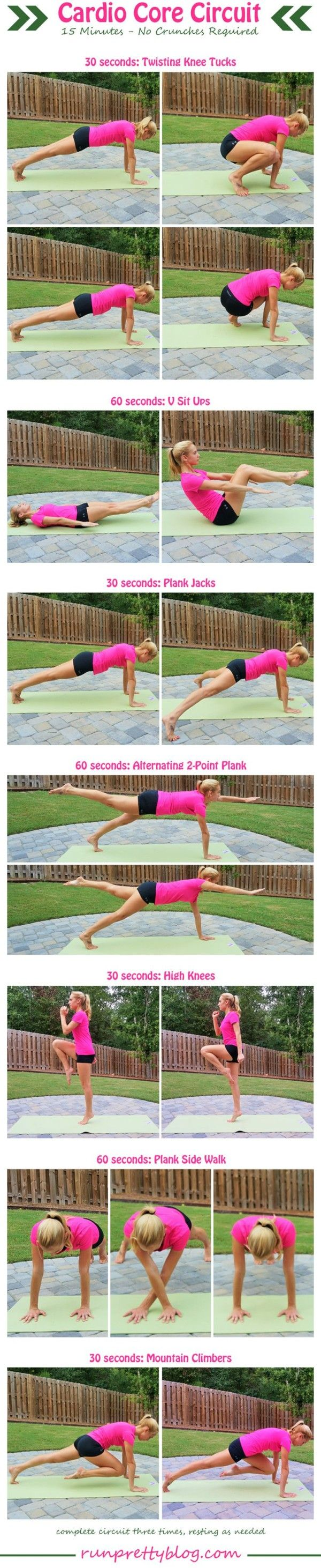 Cardio Core Circuit from RunPrettyBlog.com - plus more workouts for the abs and core.