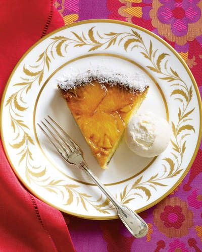 PINEAPPLE-CARAMEL CAKE: For this festive twist on the classic pineapple upside down cake, slices of pineapple are arranged in a layer of caramel at the bottom of a round cake pan, then topped with batter, baked, and flipped over. A touch of coconut in the batter adds sweetness and texture to this holiday recipe.  Click for the recipe.