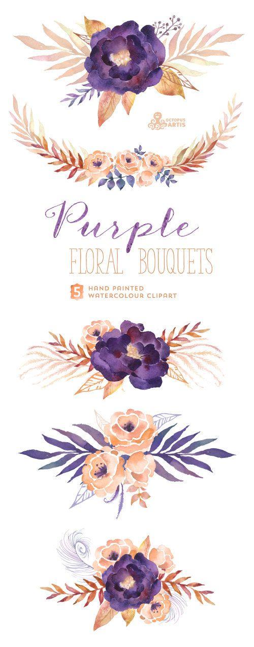 Bouquets de fleurs violettes : Digital Clipart par OctopusArtis