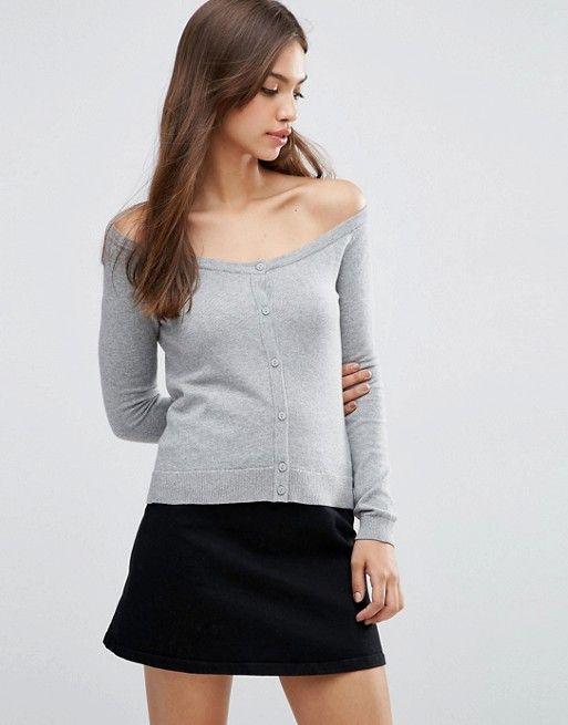 ASOS | ASOS Cardigan In Fine Knit Off Shoulder Shape Fine knit Off-the-shoulder design Button fastening Fitted trims Regular fit - true to size Machine wash 100% Cotton