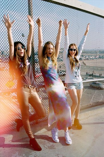 gold pants --- Haim Are Sunkissed And Silly On The Cover Of 'ASOS' Magazine   MTV Style