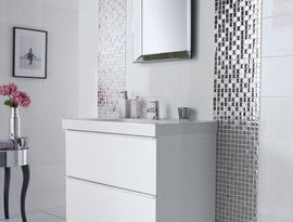 BUT WITH THESE FEATURE TILES STYLE  IE SHINY OR PEARLESANT   Bathroom Ideas | Designed to Inspire by Topps Tiles