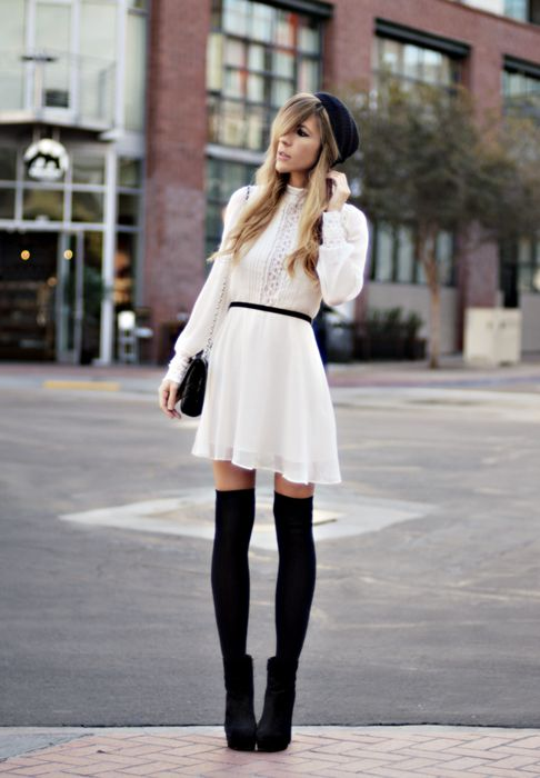 so chicFashion, Style, Outfit, Dresses, Knee Socks, Thigh Highs, Thighs High, Knee Highs, Knee High Socks