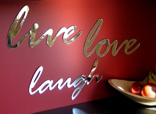 Live Wall Decor Mirror Word  typography by StudioLiscious on Etsy, $22.00