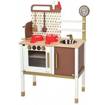Janod - Chic French Kitchen Cooker Stove. I'm sick of the kids getting into my pots and pans and cooking up a storm/mess with things like cornflakes and rice so this would save me housework and they would have endless hours of fun with it too :) #Entropywishlist #Pintowin