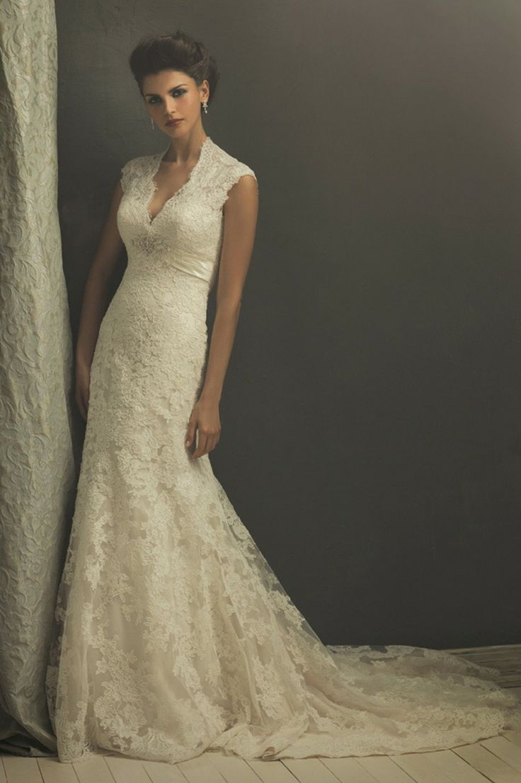 Sleeveless V-neck neckline with sweep train wedding gown  SPECIAL PRICE: $131.60