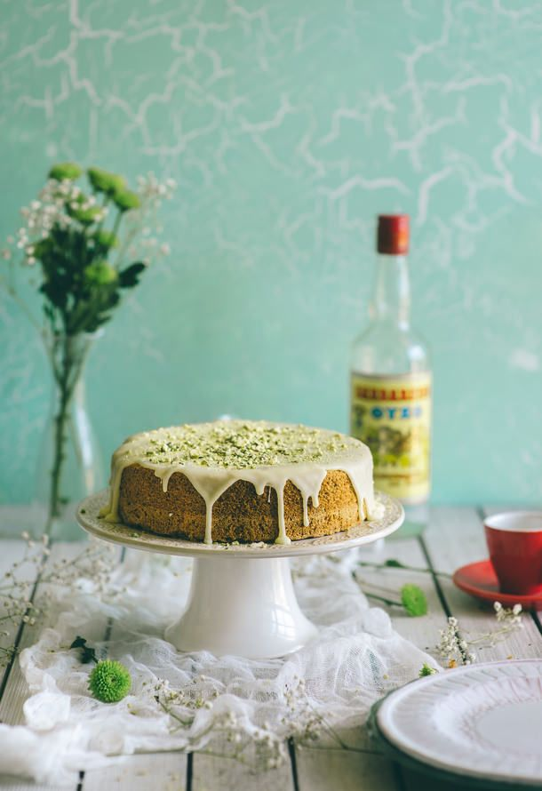 Orange, Ouzo and Pistachio Cake