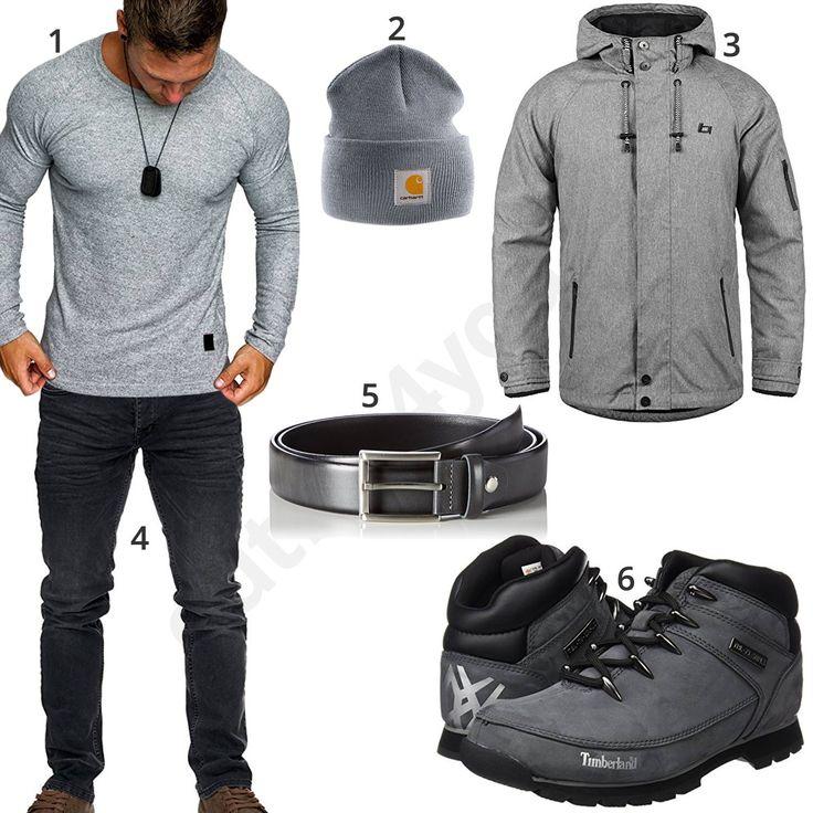 Herren-Style mit Longsleeve, Mütze und Softshelljacke (m0739)
